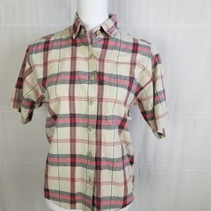 Krazy Kat button up green/red plaid blouse size S